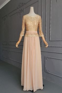 Chic A Line Champagne Chiffon Lace Beaded Mother Of The Bridesmaid Dress With 3 4 Sleeves Orange Blush, Purple Grey, Blush Pink, Winter Prom Dresses, Platinum Grey, Prom Dresses Online, Beaded Lace, Hot Pink, Champagne