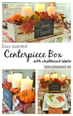 Centerpiece Box with chalkboard labels painted with - Perfect for fall, Christmas, any season or time!Easy Centerpiece Box with chalkboard labels painted with - Perfect for fall, Christmas, any season or time! Thanksgiving Table Settings, Thanksgiving Crafts, Thanksgiving Decorations, Fall Crafts, Holiday Tables, Christmas Decorations, Fall Church Decorations, Thanksgiving Wedding, Thanksgiving Traditions