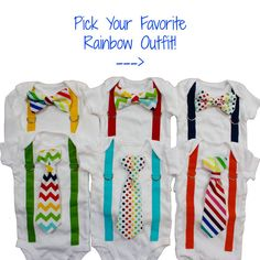 Rainbow Baby Boy Romper With Tie Or Bow Tie And Suspenders