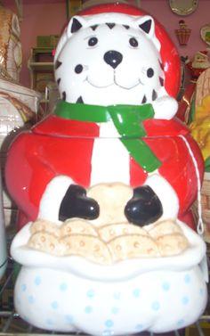Cool Santa OGI cat cookie jar  www.jazzejunque.com