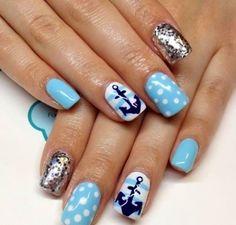 Super cute sailor gel nails. #gelnails #kelownadayspa #mm