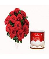 You can buy this pack that contains with 1 Kg Rasgulla with 12 Red Roses from the family of FlowerzNCakez for your special one.