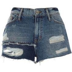 River Island Blue authentic ripped patchwork denim shorts ($70) ❤ liked on Polyvore featuring shorts, bottoms, blue, women, destroyed denim shorts, river island, ripped shorts, blue jean shorts and distressed denim shorts