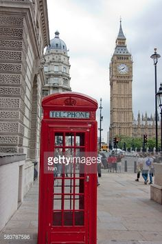 London Big Ben and British Red Telephone Booth, Westminster, London, England