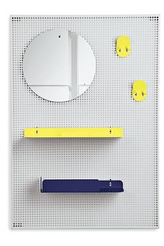 Space-Saving Storage Items That Look Good, Too #refinery29  http://www.refinery29.com/space-saving-furniture-items#slide8  Hooks, folded-metal shelves, and a mirror can be arranged in myriad configurations against the mesh backing.