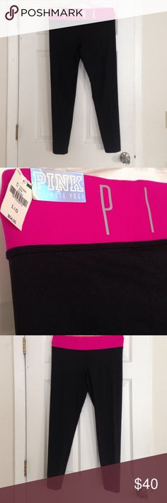 Brand New VS Pink Ultimate Yoga Leggings Full length VS Pink Ultimate Yoga Leggings. NWT. Reversible spandex yoga bands with a hot pink/ coral waistband. PINK Victoria's Secret Pants Leggings
