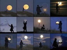 Here is a wonderful collection of 12 perspective illusions using the moon: 1. Playing footsy with the moon 2. Carrying the moon on your back 3. The moon jumping through a hoop 4. Painting the moon ...