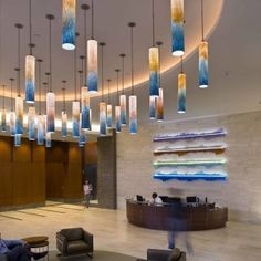 Glass Lights, Commercial Office Space, Office Space Design, Blown Glass, Art And Architecture, Light Fixtures, Lamps, Design Ideas, Lighting