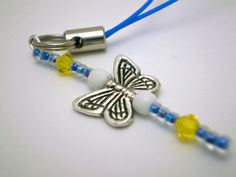 Butterfly Cell Charm or Zipper Pull in Blue/Yellow