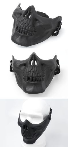 EbairSoft Airsoft parts & Tactical Gear - G Cacique Skull HALF Mask ( Black ) (maquillaje halloween mitad) Predator Mask, Airsoft Helmet, Mens Toys, Cool Masks, Awesome Masks, Arte Obscura, Half Face Mask, Skull Mask, Cool Gear
