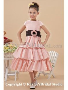 Satin Jewel Neckline Knee-Length A-line Flower Girl Dress with Hand-made Flower and Cap-Sleeves