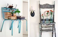 Brilliant idea to store extra dining room chairs and have much needed shelves.