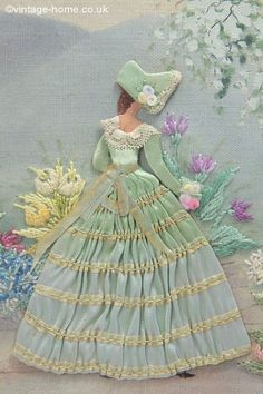 Vintage Home - Delicate Tones of Duck Egg in a 1920s Embroidery and Appliqued Lady: <a href=