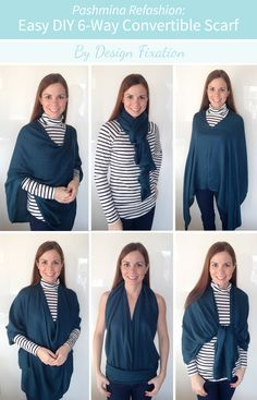 Refashion your pashmina in 5 minutes! /// Easy DIY 6-Way Convertible Scarf #sewing #tutorial