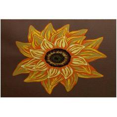 Simply Daisy 2' x 3' El Girasol Feliz Flower Print Indoor Rug, Brown