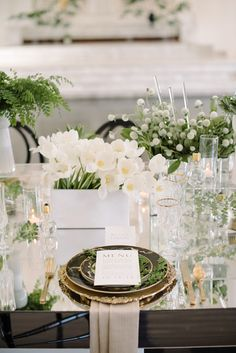 mirrored tabletop and natural greens + whites