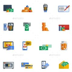 Buy Payment Icon Flat by macrovector on GraphicRiver. Payment icon flat set with wallet moneybox safe cash isolated vector illustration. Editable EPS and Render in JPG format Shop Icon, Icon Set, Real Estate Icons, Letter M Logo, Happy Parents, Business Icon, Money Box, Icon Pack, Line Icon