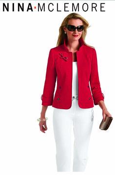 Nina McLemore Red with White Blazers For Women, Suits For Women, Blouses For Women, Jackets For Women, Big Girl Fashion, Work Fashion, Modern Fashion, Mature Women Fashion, African Fashion Skirts