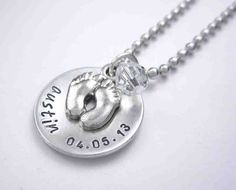 Personalized Mommy Newborn Necklace - Handstamped Baby Name Necklace - 3/4 inch disc. $20.00, via Etsy.