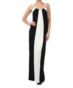 Another great find on #zulily! Black & White Color Block Dress by J-MODE #zulilyfinds