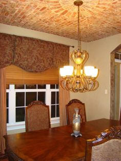 Ceiling Ideas, Ceiling Decor, Ceiling Lights, Brick Archway, Faux Brick, Photo Library, Kitchen Ideas, Dining Room, Chandelier