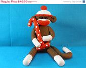 Brown Sock Monkey Birthday Cake Topper Polymer Clay