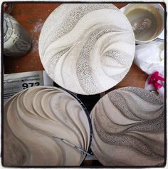 Process shot: 3 Ceramic pottery wall art pieces in progress in studio: www.jtceramics.com