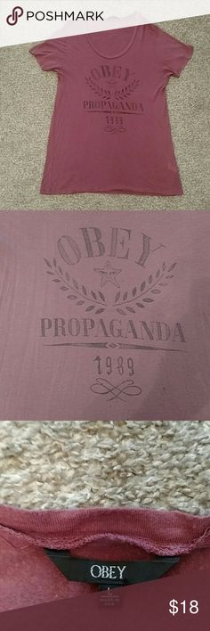 Obey super soft tee shirt: large Obey Propaganda on front of this super soft thin material tee shirt. Offers welcome!! Reposh to big on me:) Obey Tops Tees - Short Sleeve