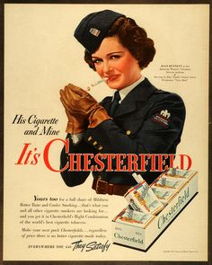 1942 Ad Liggett Myers Tobacco Chesterfield Cigarettes WWII Joan Bennett Smoker #vintage #smoking #advertising