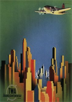"""TWA, The Transcontinental Airline Original Travel Poster """"United States"""" [1940'ts]"""