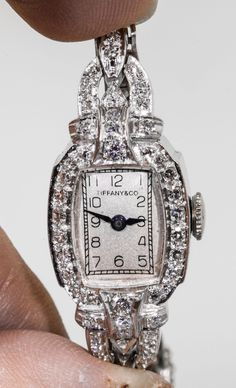 1940s Tiffany Co 1 50ct vs G Diamond Platinum Ladies Watch 2.8k