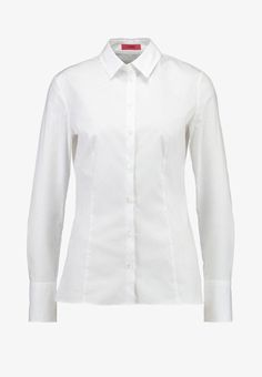 HUGO ETRIXE - Button-down blouse - open white for with free delivery at Zalando Hugo, My Wardrobe, Button Downs, Buttons, Shirt Dress, Mens Tops, Shirts, Dresses, Women