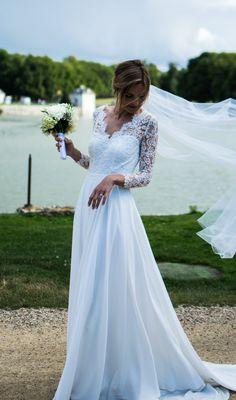Robe de mariée Constance Fournier - mariée 2016 - Création unique - Justine - Château de Chantilly
