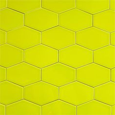 Clayhaus Stretch Hex Tile - Chartreuse - Our ceramic stretched hex tile in color… Hexagon Tile Backsplash, Hex Tile, Ceramic Subway Tile, Hexagon Tiles, Wall Tiles, Kitchen Backsplash, Subway Tiles, Contemporary Kitchen Tiles, Green Colors