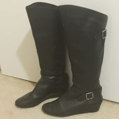 Cathy Jean Black Leather Boots Great condition! Only worn a handful of times. Too small for me. Make an offer! Cathy Jean Shoes Heeled Boots