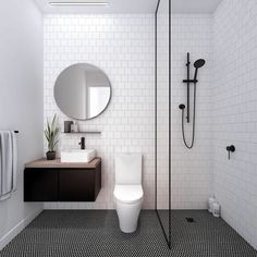 Get 15 Amazing Black And White Bathroom Interior Ideas Applied At Home Bathroom Tile Designs, Bathroom Design Small, Bathroom Ideas, Small Bathrooms, Budget Bathroom, Bathroom Organization, Bathroom Inspiration, Rental Bathroom, Bathroom Storage