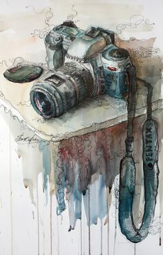 Câmera fotográfica. Aquarela. Desenho. Tinta. Arte.