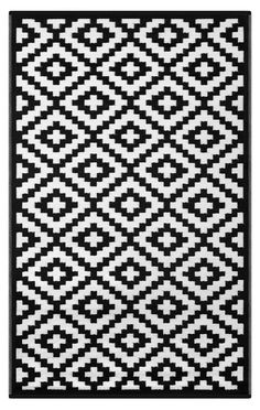 Lightweight Indoor/ Outdoor Reversible Plastic Rug Nirvana Black white 4x6 ft - Walmart.com - Walmart.com