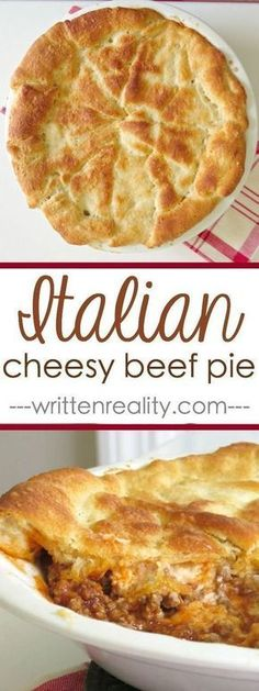 Ground Beef Pie Recipe : This Italian ground beef casserole is filled with ground beef, tomato sauce, and cheese. Then it& covered with a wonderful flaky crescent roll crust. It& one of our favorite quick and easy recipes for super busy weeknights. Casserole Recipes, Meat Recipes, Cooking Recipes, Healthy Recipes, Bisquick Recipes, Recipes Dinner, Vegetable Recipes, Chicken Recipes, Foodies