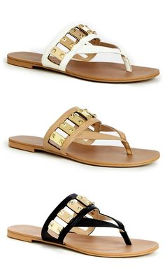 Flat sandals with gold-toned hardware, a thong silhouette and an ultra-soft insole that keeps your feet cool all day