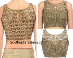 Blouse Designs with Transparent Neckline – South India Fashion - Stone Work Net Blouse - Choli Blouse Design, Netted Blouse Designs, Blouse Back Neck Designs, Saree Blouse Designs, Saree Blouse Patterns, Designer Blouse Patterns, Lehenga Designs, Kids Lehenga Choli, Sarees