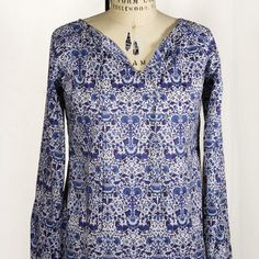 Martha Stewart American Made Sailor Rose: Forest and Field Blouse, in Liberty of London Indigo Print