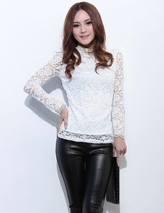 TC000502 Thick autumn pinched waist Korean style lace bottoming shirt