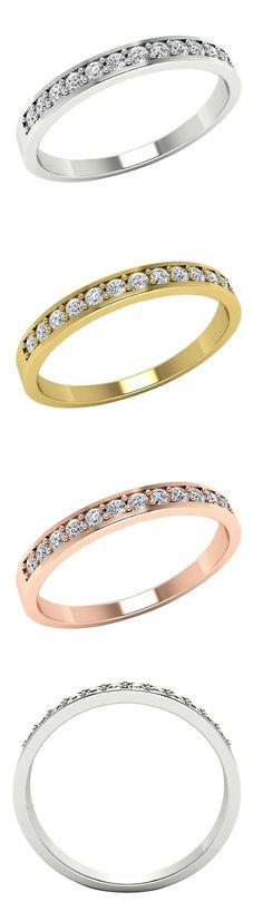 jewelry: Natural Diamond Wedding Anniversary Ring Band 14K Gold Round Cut 0.25 Ct -> BUY IT NOW ONLY: $147.6 on eBay!