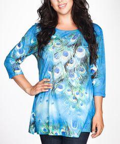 Look what I found on #zulily! Blue Rhinestone Peacock Tunic - Plus #zulilyfinds