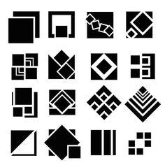 : Interacción de Formas-Cuadrados Basic Design Principles, Principles Of Design, Design Elements, Geometric Logo, Geometric Shapes, Geometric Patterns, Graphic Design Tips, Design Art, Art Deco Pattern