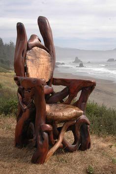 Driftwood Furniture, Log Furniture, Funky Furniture, Furniture Ideas, Rustic Wood Furniture, Rustic Chair, Furniture Vintage, Handmade Furniture, Industrial Furniture