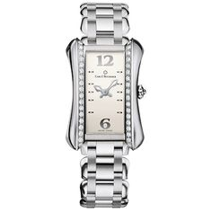 This Carl F. Bucherer Alacria Midi watch has a feminine silver dial with Arabic hour markers. Crafted in stainless steel, this Alacria Midi has a unique 26.5 x 38mm rectangular-shaped case with a single row diamond-set bezel and is shown on a steel link bracelet. The Carl F. Bucherer Alacria Midi watch is powered by a quartz movement and is water resistant to 30 meters.  6,700.00 USD