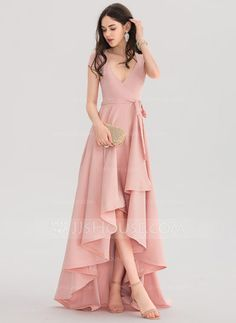 A-Line/Princess V-neck Asymmetrical Stretch Crepe Prom Dresses - Pro. - - A-Line/Princess V-neck Asymmetrical Stretch Crepe Prom Dresses – Prom Dresses – JJ's House Source by lauramarinr Stylish Dresses, Elegant Dresses, Pretty Dresses, Beautiful Dresses, Formal Dresses, A Line Dresses, V Neck Prom Dresses, Dress Prom, Maxi Dresses