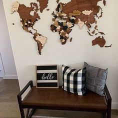 Wooden World Map by WoodPecStudio. Christmas gift for traveler. Travel push pin maps for wall office decor, bedroom and living room rustic decor, hallway decoration. World maps from wood for wall decor in farmhouse style Wood World Map, World Map Wall Art, Wall Maps, The Coasters, Deadpool, Push Pin World Map, Wooden Map, Map Painting, Avengers